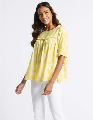 Marks and Spencer Palm Print Round Neck 3/4 Sleeve Blouse