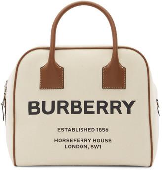 Burberry Beige Woven Portrait Cube Bag