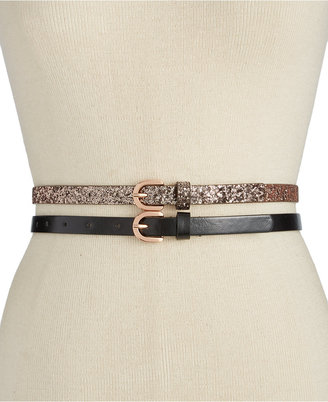 INC International Concepts Glitter 2-for-1 Skinny Belts, Only at Macy's $34.50 thestylecure.com