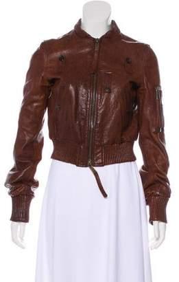 DSQUARED2 Leather Bomber Jacket