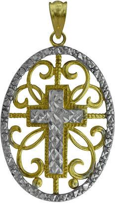 FINE JEWELRY 10K Two-Tone Gold Round Cross Charm Pendant