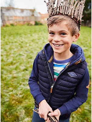 Joules Little Joule Girls' Quilted Gilet, Navy
