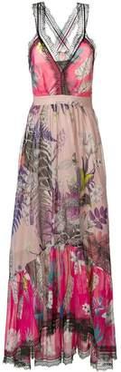 Just Cavalli lace trim floral dress