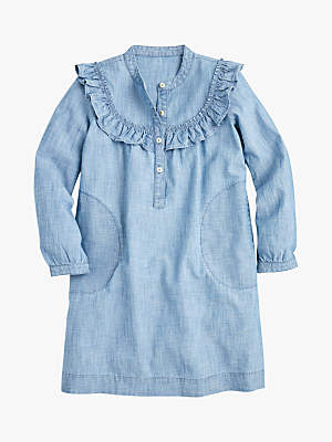 J.Crew crewcuts by Girls' Theresa Chambray Ruffle Dress, Blue
