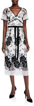 Marchesa Floral Velvet Embroidered & Guipure Lace Short-Sleeve Midi Dress