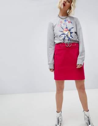 Love Moschino Heart Belted Mini Skirt