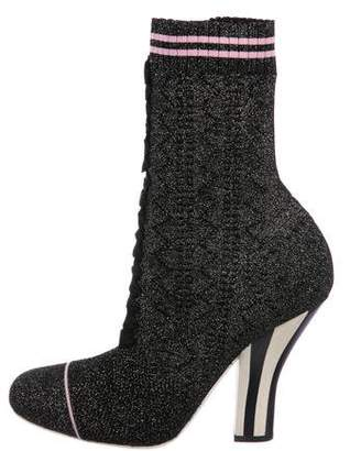 Fendi Rockoko Metallic Knit Boots