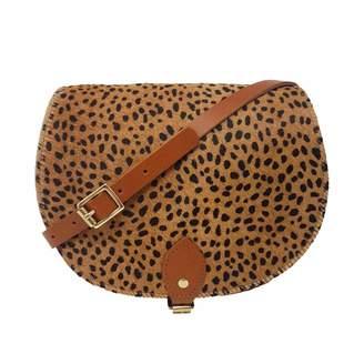 N'Damus London - Cheetah Print Leather Saddle Bag In Tan With Back Pocket
