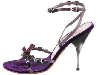Prada Velvet Mid-Heel Sandals