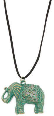 Patina Elephant Tassel Cord Long Necklace