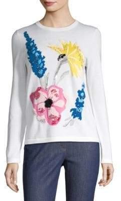 Escada Senti Embroidered Floral Knit Sweater