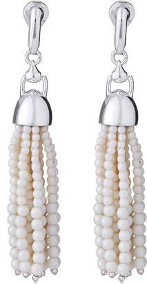 Lauren Ralph Lauren Silver-Tone & White Tassel E-Z Comfort Clip-On Earrings