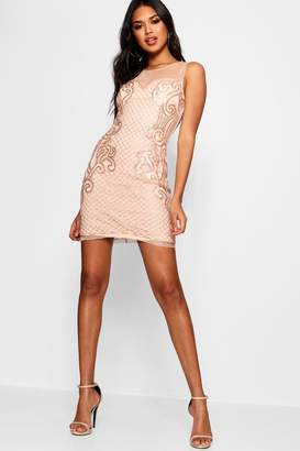 boohoo Boutique Grid Embellished Bodycon Dress