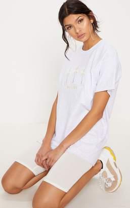 PrettyLittleThing Ash Grey Malibu Embroidered Oversized T Shirt