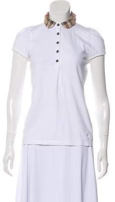 Burberry Collar Short Sleeve Top