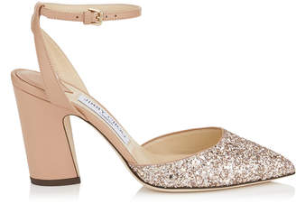 Jimmy Choo MICKY 85 Ballet Pink Shadow Coarse Glitter Fabric and Nappa Leather Pumps