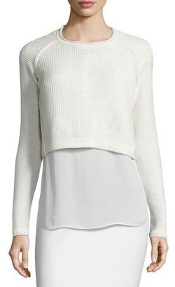 Elie Tahari Giada Cropped Sweater & Silk Blouse $368 thestylecure.com