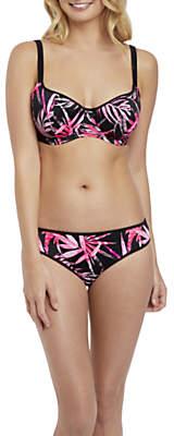 Sunset Palm Underwired Bikini Top, Black/Pink