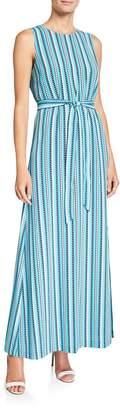Karl Lagerfeld Paris Striped Tie Waist Maxi Dress