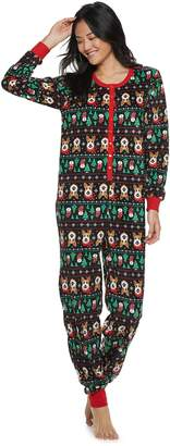 Peace Love & Fashion Juniors' Peace, Love & Fashion Fairisle One-Piece Pajamas