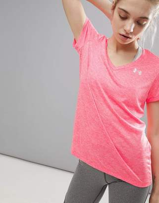 Under Armour V Neck Tech T-Shirt In Pink