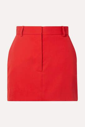 Calvin Klein Striped Wool-twill Mini Skirt - Red