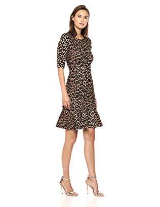 e16289b726c Milly Women s Knit Textured 3 4 Sleeve Cheetah Mermaid Hem Dress