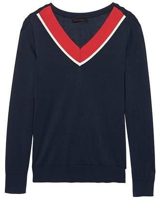 Banana Republic Silk Cashmere Varsity V-Neck Sweater