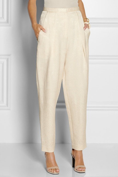 The Row Giacomo silk and wool-blend cloqué pants