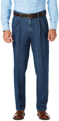 Haggar Men's Classic-Fit Stretch Expandable-Waist Pleated Jeans