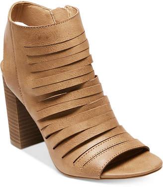 Madden Girl Halo Peep-Toe Block-Heel Booties Women's Shoes $59 thestylecure.com