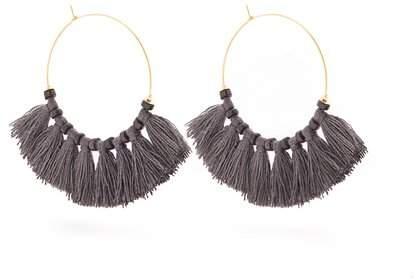 ELISE TSIKIS Eren stone and tassel-embellished hoop earrings