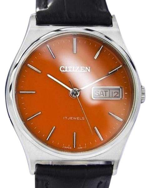 CitizenCitizen Day Date Manual Wind Orange Dial Stainless Steel Mens Watch 1980