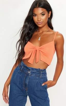 PrettyLittleThing Orange Lightweight Knit Knot Front Crop Top