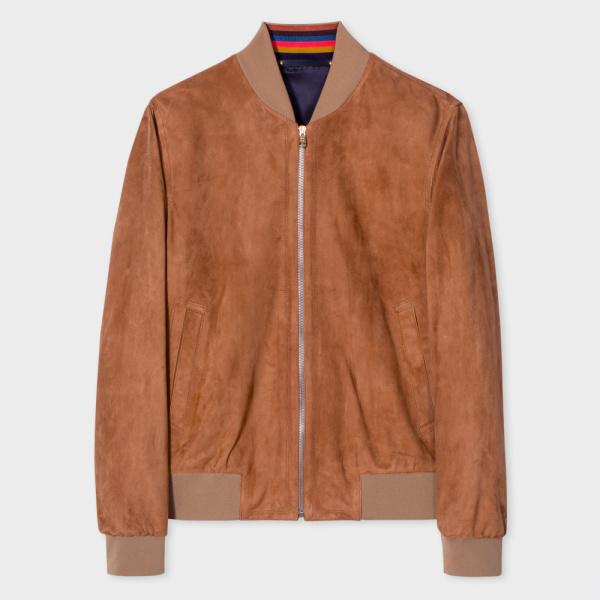 Paul SmithMen's Slim-Fit Tan Suede Bomber Jacket With 'Artist Stripe' Trim Lining
