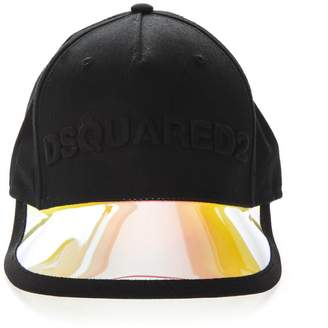 5ab4bd4e461 DSQUARED2 Black Cotton Baseball Cap With Mirrored Visor