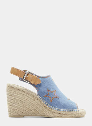 Stella McCartney Star Embroidered Slingback Espadrille Wedges in Blue
