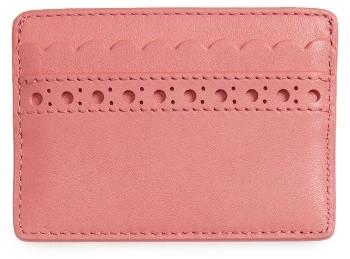 Tory BurchWomen's Tory Burch Block T Brogue Slim Leather Card Case - Pink
