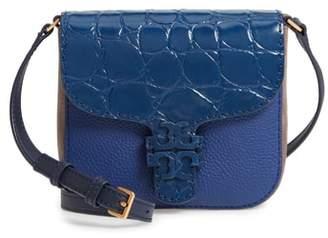 Tory Burch McGraw Croc Embossed Leather Crossbody Bag