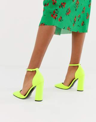 1f355107a95 Asos Design DESIGN Pebble pointed high heels in neon yellow
