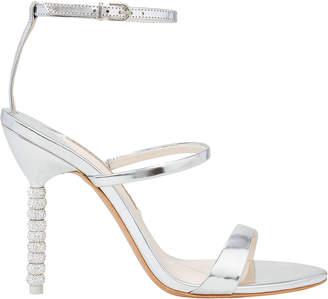 Sophia Webster Rosalind Triple Strap Crystal Heel Silver Sandals