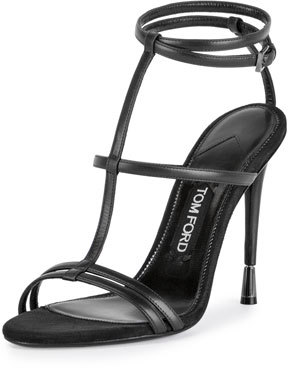 TOM FORD Leather T-Strap 105mm Sandal, Black $1,090 thestylecure.com