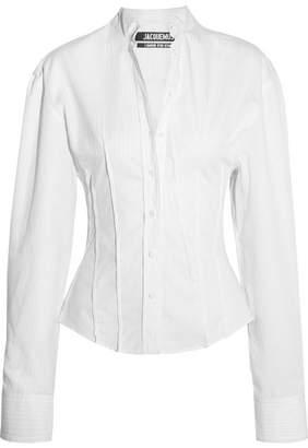 Jacquemus - La Chemise Pinces Pinstriped Cotton-poplin Shirt - White $475 thestylecure.com