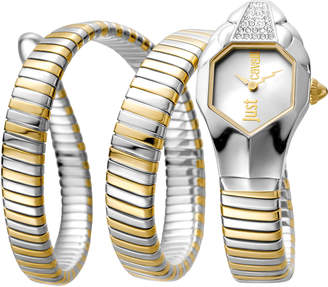 Just Cavalli 22mm Glam Chic Coil Bracelet Watch, Two-Tone