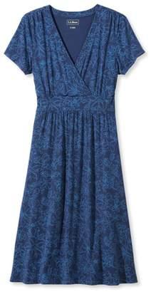 L.L. Bean L.L.Bean Summer Knit Dress, Short-Sleeve Floral Print