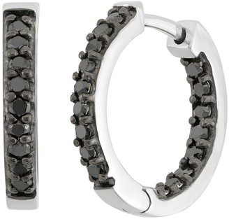 Black Diamond 1 Carat T.W. Sterling Silver Inside-Out Hoop Earrings