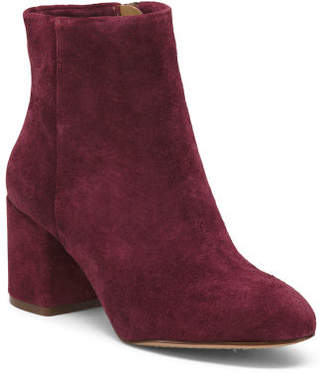 Block Heel Ankle Suede Booties