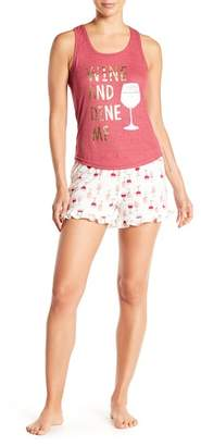 Couture PJ Wine & Dine Tank & Shorts 2-Piece Pajama Set