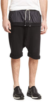 Mostly Heard Rarely Seen Double-Layer Banded Drop-Rise Shorts, Black $225 thestylecure.com