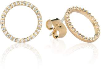 Astrid & Miyu - Tuxedo Circle Stud Earrings in Gold